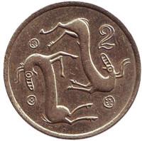 Козлы. Монета 2 цента. 1985 год, Кипр.