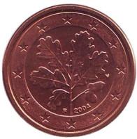 Монета 1 цент. 2004 год (F), Германия.