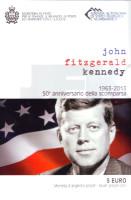 Джон Кеннеди. 50-летие со дня убийства. Монета 5 евро. 2013 год, Сан-Марино.