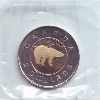 Полярный медведь. Монета 2 доллара, 1997 год, Канада. BU.