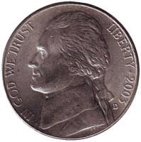 Джефферсон. Монтичелло. Монета 5 центов. 2003 год (D), США.