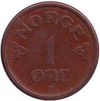 Монета 1 эре. 1954 год, Норвегия.