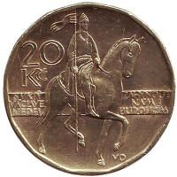Всадник (Святой Вацлав). Монета 20 крон. 2004 год, Чехия.