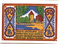Башня в Оснабрюке. Нотгельд Оснабрюка. 50 пфеннигов. 1921 год, Веймарская республика (Германия).