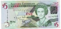 Банкнота 5 долларов. 2008 год, Восточно-Карибские государства.