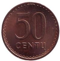 Монета 50 центов, 1991 год, Литва. aUNC.