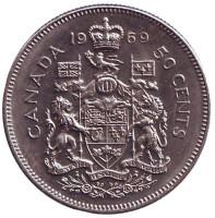 Монета 50 центов. 1969 год, Канада.
