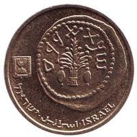 Древняя монета. Монета 5 агор. 1986 год, Израиль.