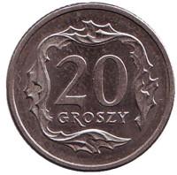 Монета 20 грошей. 1999 год, Польша.